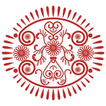 paz interior: La decoraci�n del cord�n de tatuajes de henna mandala de maquillaje inspirado casando la cultura asi�tica en forma ovalada hecha de hojas, corazones en rojo que simboliza la felicidad, el amor y la vida espiritual, zen, paz interior