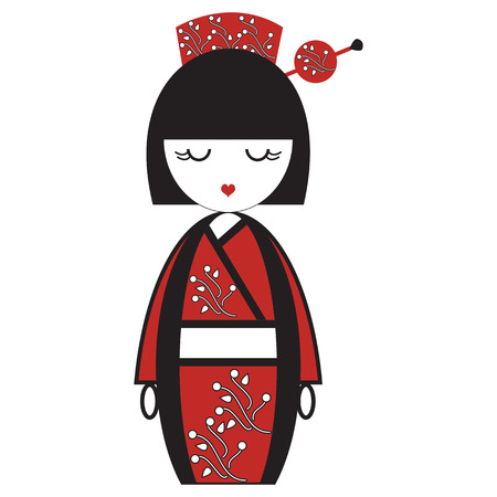 Oriental Japanese geisha  doll with kimono with oriental flowers and  stick with round element inspired by Asian  tradition Ilustrace