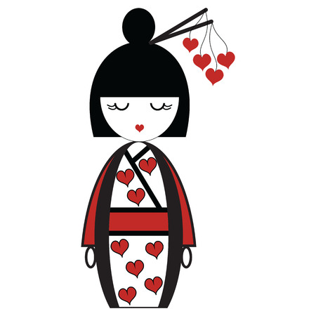 Oriental Japanese geisha  doll with kimono with orinetal hair sticks with hearts elements