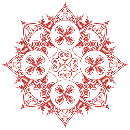 inner peace: Asian culture inspired  wedding makeup  henna tattoo decoration floral shape with leaves in red and red symbolizing happiness, love and spiritual life, zen , inner peace, feng shui Illustration