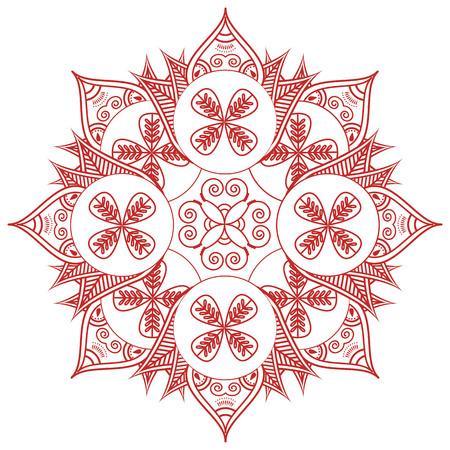 paz interior: cultura asiática decoración de la boda de maquillaje inspirado tatuaje de henna forma floral con las hojas en la felicidad de color rojo y rojo que simboliza el amor y la vida espiritual, zen, paz interior, el Feng Shui