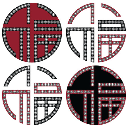 korean traditional: Traditional geometric Oriental Korean symmetrical good fortune zen symbols in black, white and red with diamonds element in tattoo style