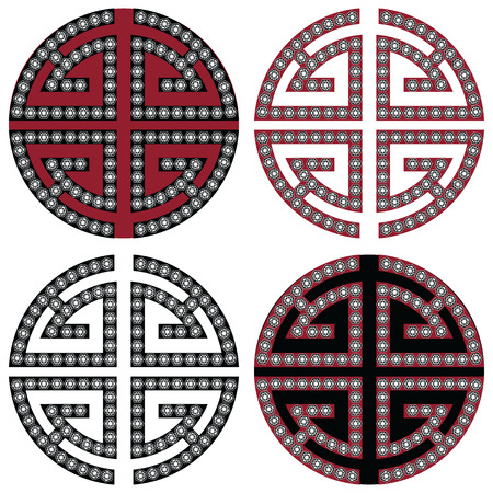 style wealth: Traditional geometric Oriental Korean symmetrical wealth  zen symbols in black, white and red with diamonds element in tattoo style Illustration