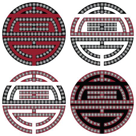 longevity: Traditional geometric Oriental Korean symmetrical longevity, long life  zen symbols in black, white and red with diamonds element in tattoo style