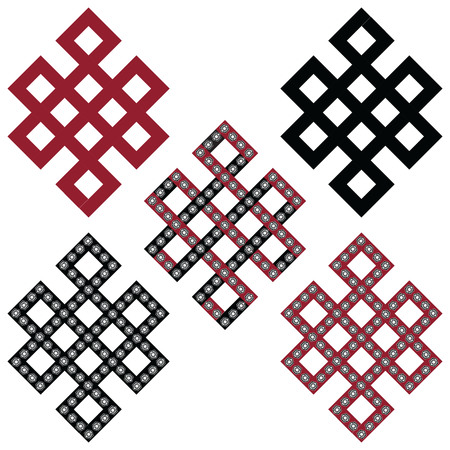 auspicious element: Traditional geometric Oriental symmetrical Endless, Eternity Knot zen Auspicious Symbols in black, white and red with diamonds element in tattoo style Illustration
