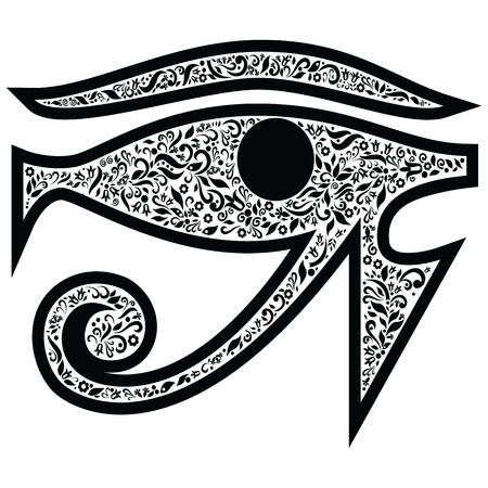 praise god: Evil Eye with floral elements in black  and white tattoo style , Middle Eastern Religious  amulet providing  protection against evil forces