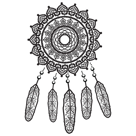 mandala: Dream catcher graphic in black and white mandala style decorated with feather, beads and ornaments giving its owner good dreams in mandala style