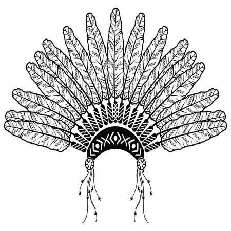 ethnicity: Headdress in Aztec style symbolizing Native American people in black and white in drawing style with decorative feathers, beads and tribal ornaments