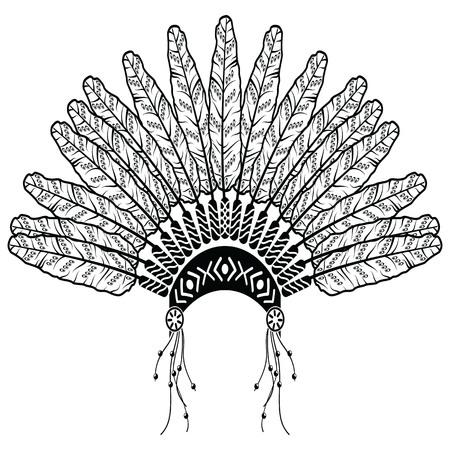 etnia: Tocado en estilo azteca que simboliza los nativos americanos en blanco y negro en el dibujo estilo con plumas decorativas, cuentas y adornos tribales Vectores