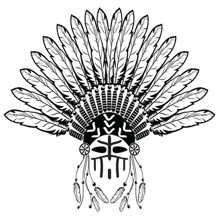 Aztec, ethnic style headdress with plain feathers, beads symbolizing native American tribes and warrior culture in black and white with decorative ornaments and warrior make up