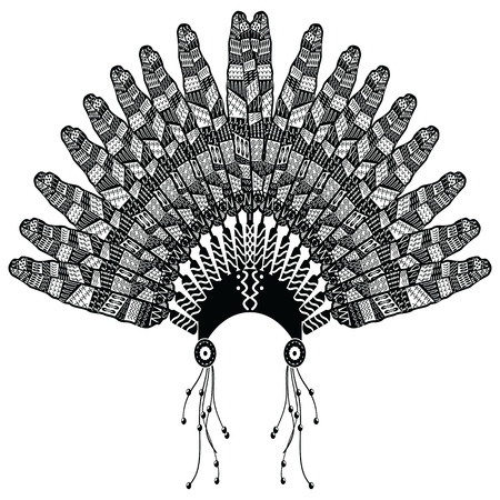 Headdress in Aztec style symbolizing Native American people in black and white in drawing style with decorative style feathers, beads and tribal ornaments Vettoriali