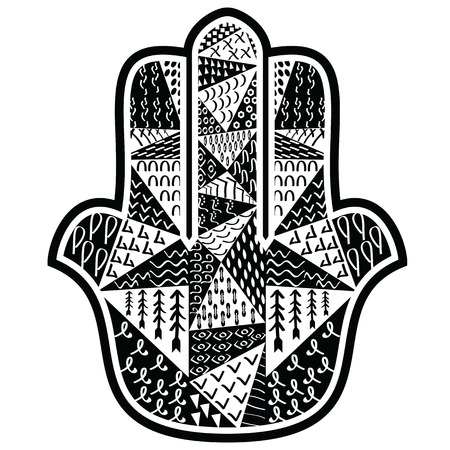 middle eastern: Hamsa Hand with floral aztec ethnic elements  in black  and white, Middle Eastern amulet symbolizing the Hand of God