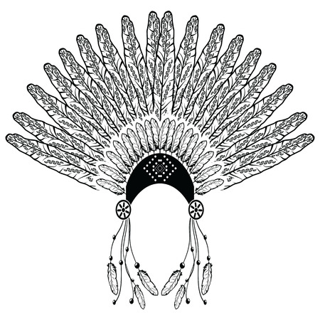 ceremonial makeup: Aztec, ethnic style headdress with decorative and plain feathers, beads symbolizing native  American warrior, tribes culture in black and white with decorative ornaments
