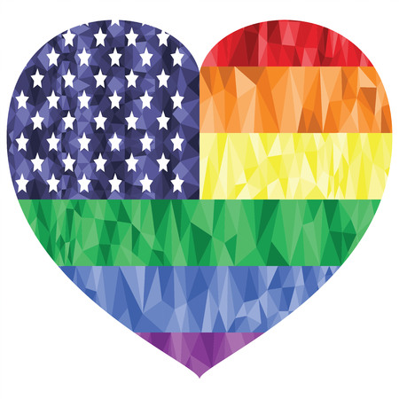 gay marriage: American Flag on the Rainbow Background with low poly art effect in the heart shape representing gay people love, rights, equality,   pride , gay marriage