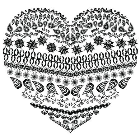 La Forma Del Corazón Del Zentangle Azteca Tribal Con Elementos ...