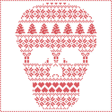 stitching: Scandinavian Nordic winter stitching  knitting  christmas pattern in  in sugar skull  shape including snowflakes, hearts xmas trees christmas presents, snow, stars, decorative ornaments on white background