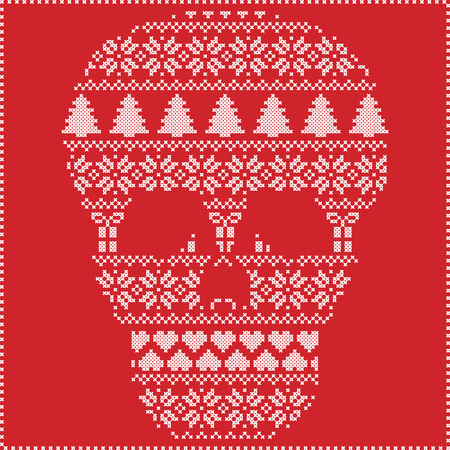 stitching: Scandinavian Nordic winter stitching  knitting  christmas pattern in  in sugar skull  shape including snowflakes, hearts xmas trees christmas presents, snow, stars, decorative ornaments on red background Illustration