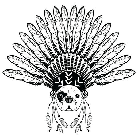 Warrior style French bulldog with tribal Headdress with plain feathers in white and black symbolizing native American people