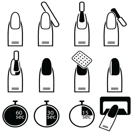 Gel and hybrid  nails preparation process, lacquer up, and protection process under uv and led lamp icon set in black and white Фото со стока - 56104448