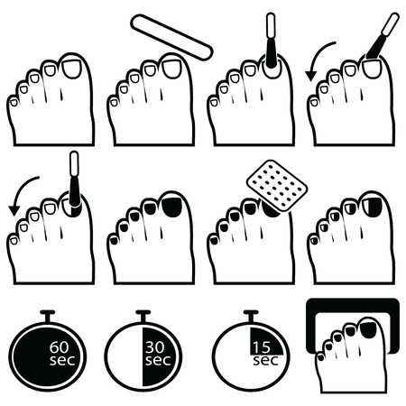 lacquer: Pedicure gel and hybrid  nails preparation process, lacquer up, and protection process under uv and led lamp icon set in black and white