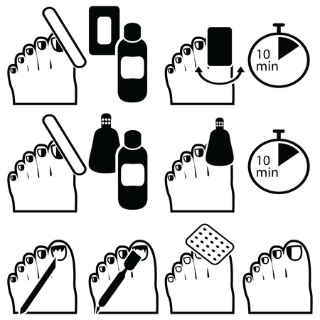 titanium: Female Pedicure and  gel hybrid titanium  nails preparation for varnish removal with different methods such as soak-off , foil wrap icons set in black and white Illustration