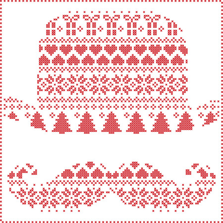 stitching: Scandinavian Nordic winter stitching  knitting  christmas pattern in  hipster mustache  & hat  shape including snowflakes, hearts, trees christmas presents, snow, stars, decorative ornaments on white