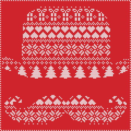 christma: Scandinavian Nordic winter stitching  knitting  christmas pattern in  hipster mustache  & hat  shape including snowflakes, hearts, trees christmas presents, snow, stars, decorative ornaments on white