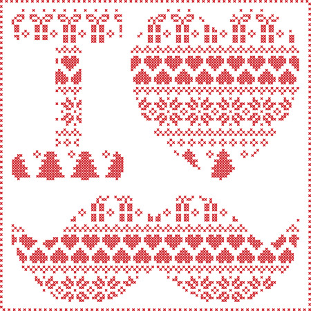 christma: I love hipster pattern in Scandinavian Nordic winter stitching  knitting  christmas style with mustache, love heart  christmas presents, snow, stars, decorative ornaments on white  background Illustration