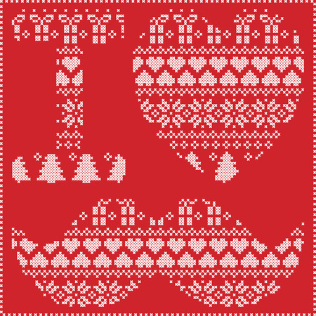 stitching: I love hipster pattern in Scandinavian Nordic winter stitching  knitting  christmas style with mustache, love heart  christmas presents, snow, stars, decorative ornaments on red background