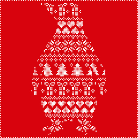 stitching: Scandinavian Nordic winter stitching  knitting  christmas pattern with penguin shape including snowflakes, hearts, trees christmas presents, snow, stars, decorative ornaments on red background