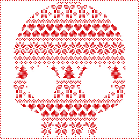 stitching: Scandinavian Norwegian style  winter stitching  knitting  christmas pattern in  in sugar skull  shape including snowflakes, hearts xmas trees christmas presents, snow, stars, decorative ornaments on white background
