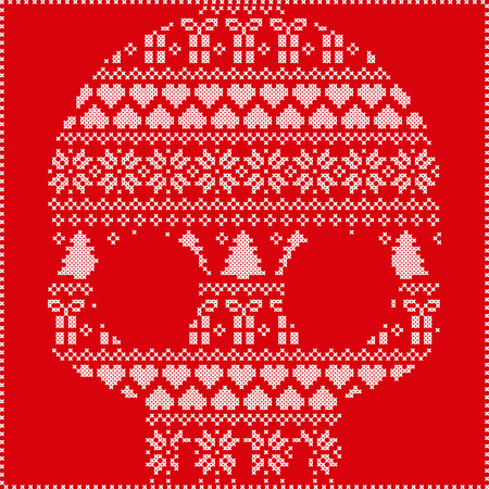 stitching: Scandinavian Norwegian style  winter stitching  knitting  christmas pattern in  in sugar skull  shape including snowflakes, hearts xmas trees christmas presents, snow, stars, decorative ornaments on red background Illustration