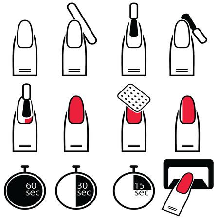 ゲルとハイブリッド爪準備プロセス、ラッカー、および紫外線と led ランプのアイコンが黒と白と赤のセットの下で保護プロセス