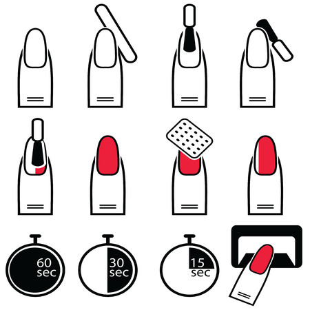 nails art: Gel and hybrid  nails preparation process, lacquer up, and protection process under uv and led lamp icon set in black and white and red Illustration