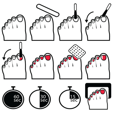 pedicure set: Pedicure gel and hybrid  nails preparation process, lacquer up, and protection process under uv and led lamp icon set in black and white and red Illustration