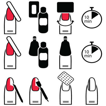 varnish for the nails: Female Manicure and  gel hybrid titanium  nails preparation for varnish removal with different methods such as soak-off , foil wrap icons set in black and white and red