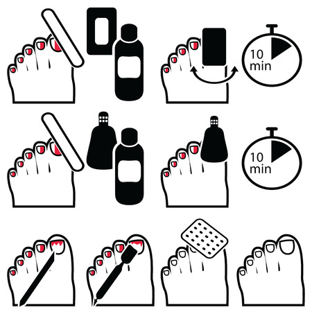 Female Pedicure and  gel hybrid titanium  nails preparation for varnish removal with different methods such as soak-off , foil wrap icons set in black and white and red