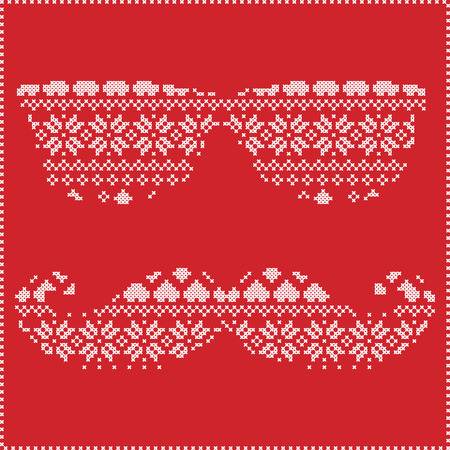 stitching: Hipster pattern in Scandinavian Nordic winter stitching  knitting  christmas style with mustache, geek sunglasses, love heart  christmas presents, snow, stars, decorative ornaments on red  background Illustration