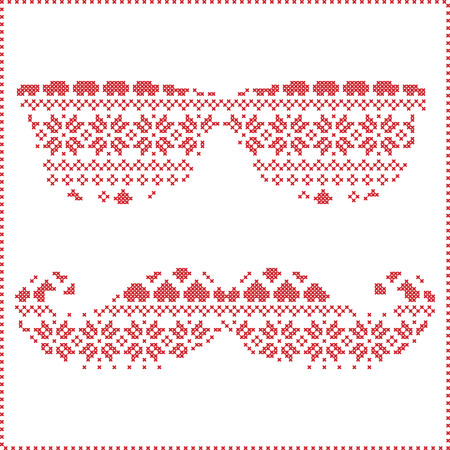 stitching: Hipster pattern in Scandinavian Nordic winter stitching  knitting  christmas style with mustache, geek sunglasses, love heart  christmas presents, snow, stars, decorative ornaments on white background Illustration
