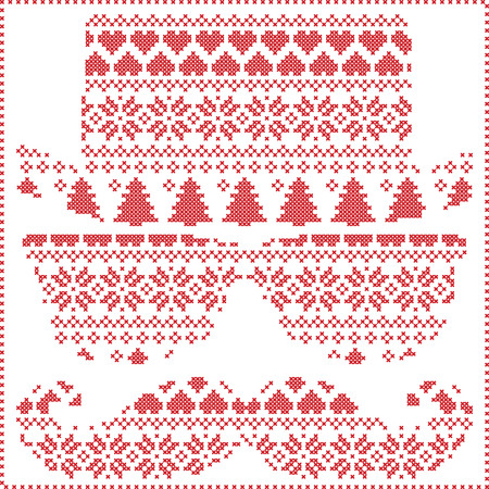 stitching: Hipster pattern in Scandinavian Nordic winter stitching  knitting  christmas style with mustache, geek sunglasses and hat with christmas presents, snow, stars, decorative ornaments on white background
