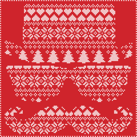 stitching: Hipster pattern in Scandinavian Nordic winter stitching  knitting  christmas style with mustache, geek sunglasses and hat with christmas presents, snow, stars, decorative ornaments on red background