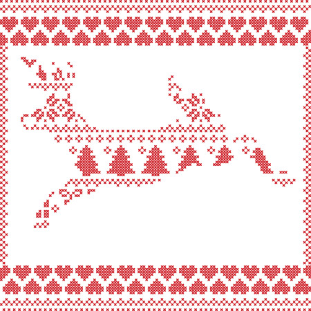 snow white: Scandinavian Norwegian style  winter stitching  knitting  christmas pattern in  in deer shape including snowflakes, hearts xmas trees c, snow, stars, decorative ornaments on white background