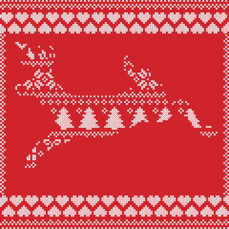stitching: Scandinavian Norwegian style  winter stitching  knitting  christmas pattern in  in deer shape including snowflakes, hearts xmas trees c, snow, stars, decorative ornaments on red background