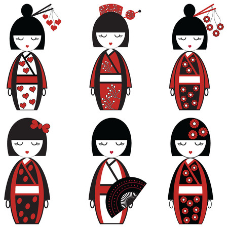 Japanese female dolls inspired by Asian culture, set of 6 dolls with vary outfits including decorative elements,  flowers, hearts, bow, fan , hair sticks in black and red