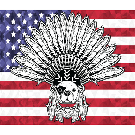 western usa: Warrior style French bulldog with tribal Headdress with plain feathers in white and black symbolizing native American people and Independence day on American flag in low poly style Illustration