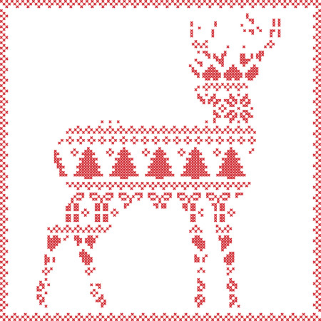 stitching: Scandinavian Norwegian style  winter stitching  knitting  christmas pattern in  in deer silhouette including snowflakes, hearts xmas trees c, snow, stars, decorative ornaments on white  background