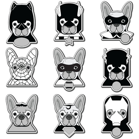 super dog: French bulldog  heroes in label style