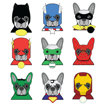 French bulldog  heroes in in color icons set Illustration