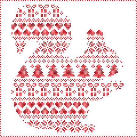 stitching: Scandinavian Norwegian style winter stitching  knitting  christmas pattern in  in squirrel  shape including snowflakes, hearts xmas trees c, snow, stars, decorative ornaments on white background Illustration