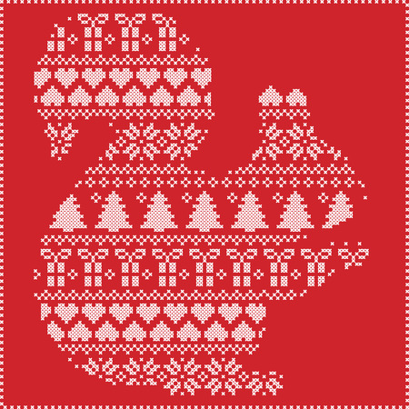 stitching: Scandinavian Norwegian style winter stitching  knitting  christmas pattern in  in squirrel  shape including snowflakes, hearts xmas trees c, snow, stars, decorative ornaments on red background Illustration